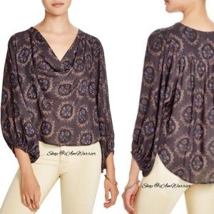 Free People Draped Cowl Balloon Sleeve Blouse